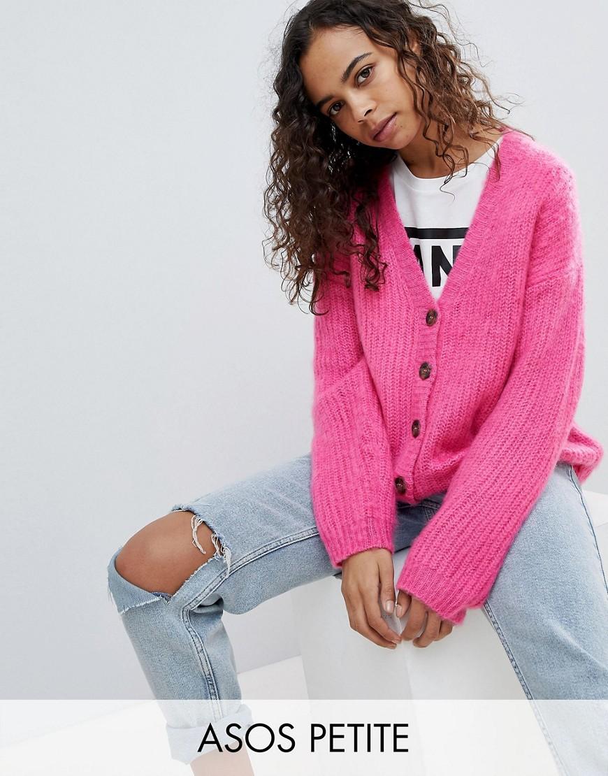 ASOS PETITE Knitted Cardigan in Brushed Yarn - Pink