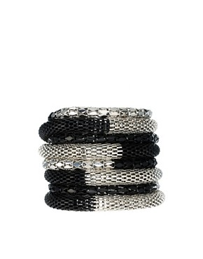 Image 1 ofASOS Black and Rhodium Bracelet Pack