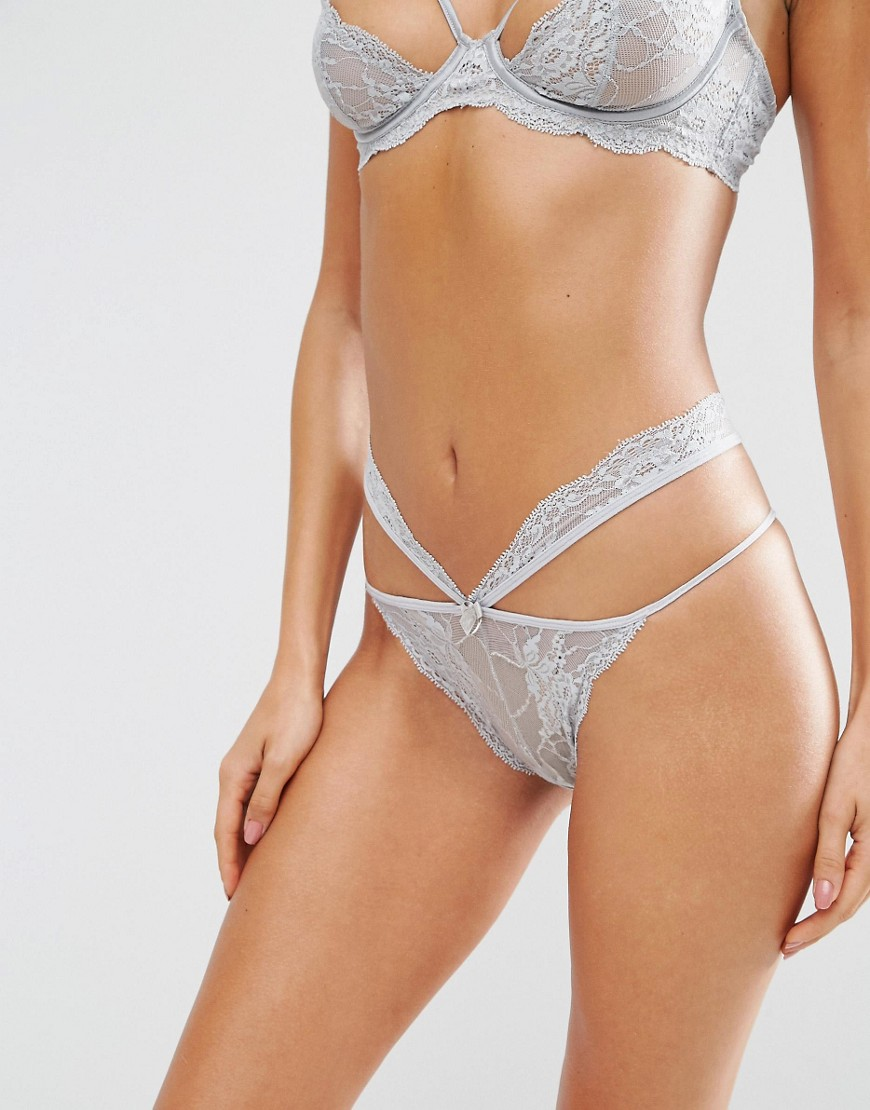 ASOS Mia Strappy Lace Hipster Bikini Bottom - Gray
