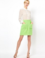Boutique by Jaeger Patch Pocket Skirt in Fleuro Tweed