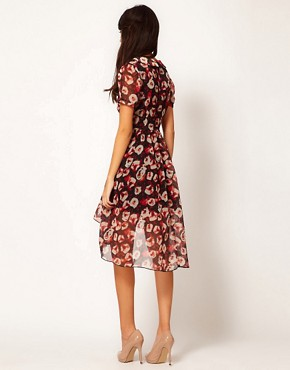 Image 2 of Rare Hi Low Dress In Red Roses Print