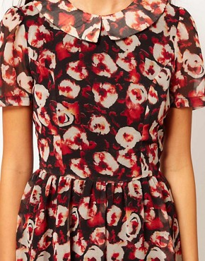 Image 3 of Rare Hi Low Dress In Red Roses Print