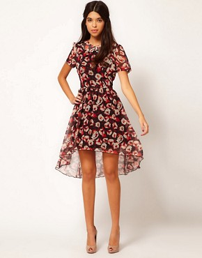 Image 4 of Rare Hi Low Dress In Red Roses Print
