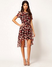 Rare Hi Low Dress In Red Roses Print