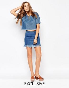 Northmore Denim 90'S Mini Skirt With Raw Hem