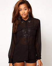 Motel Sylvia Studded Collar Dip Back Shirt