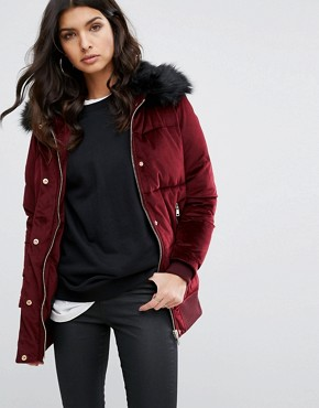 River Island Velvet Padded Jacket