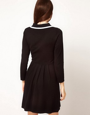 Image 2 ofASOS Knitted Dress With Contrast Trim Collar