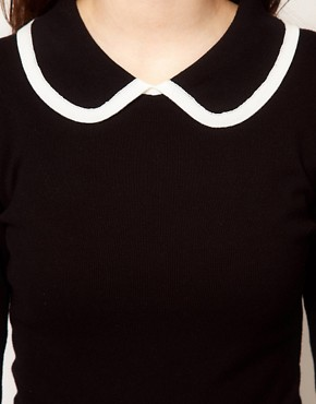 Image 3 ofASOS Knitted Dress With Contrast Trim Collar