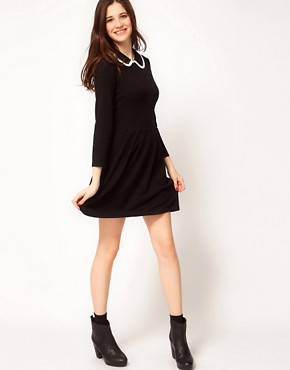 Image 4 ofASOS Knitted Dress With Contrast Trim Collar