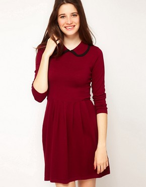 Image 1 ofASOS Knitted Dress With Contrast Trim Collar