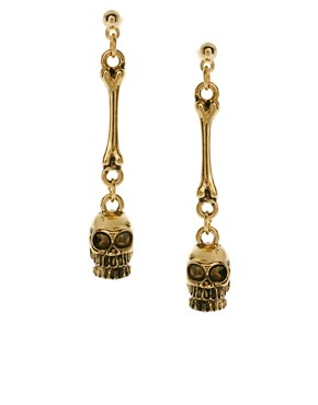 Image 1 ofASOS Skull Drop Earrings