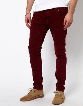 Image 1 ofNudie Jeans Tight Long John Skinny Fit Icon Red