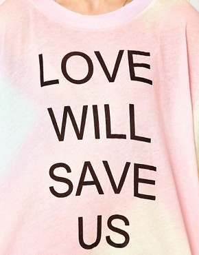 Image 3 ofWildfox Love Will Save Us Dipped Hem T Shirt
