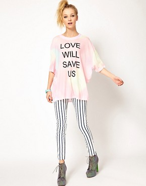 Image 4 ofWildfox Love Will Save Us Dipped Hem T Shirt