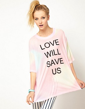 Image 1 ofWildfox Love Will Save Us Dipped Hem T Shirt