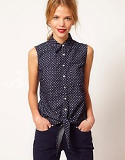 Oasis Spot Print Shirt With Tie Front