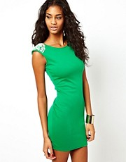 Rare Bodycon Dress with Crystal Shoulder Detail