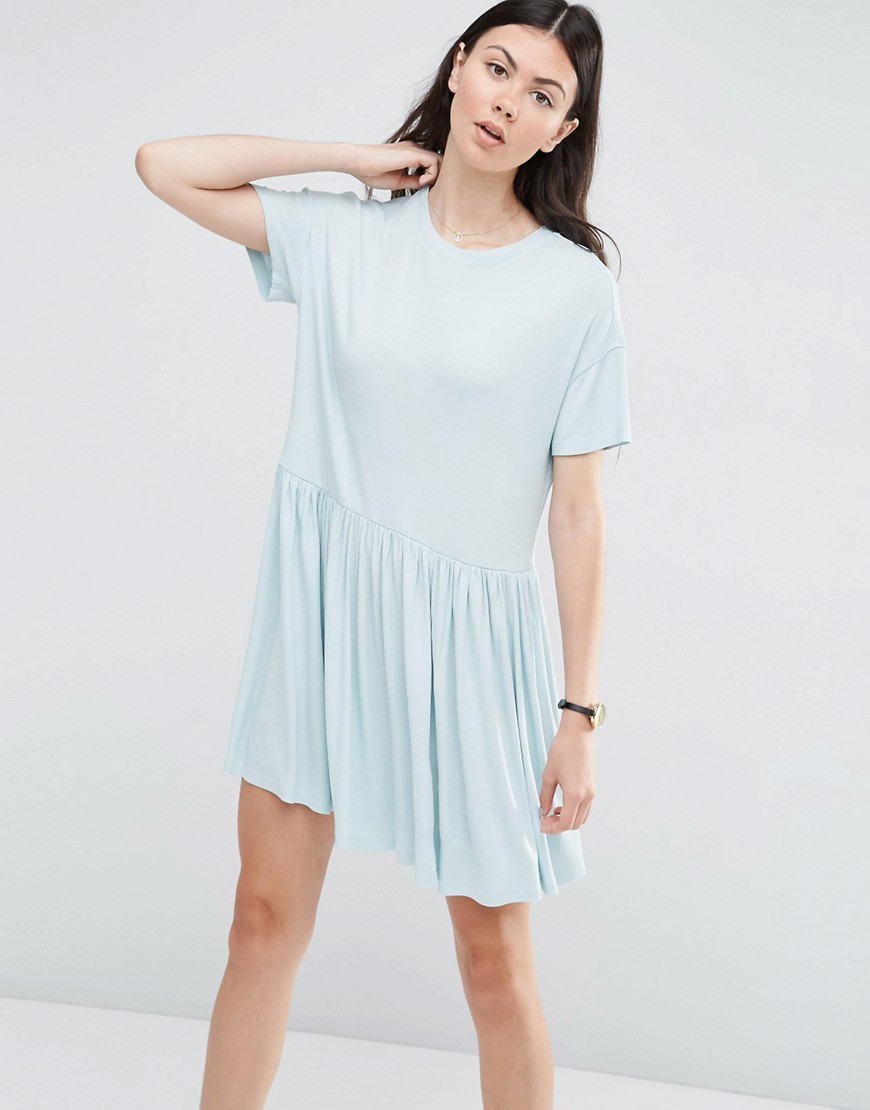 ASOS Rib Smock Dress - Blue