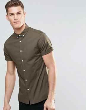 ASOS Skinny Shirt In Khaki With Button Down Collar And Short Sleeves