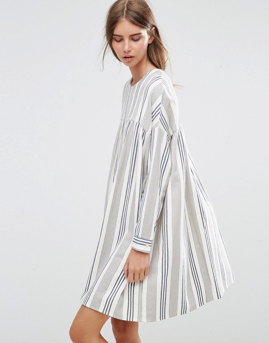 ASOS Long Sleeve Smock Dress in Natural Stripe - Multi