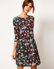 Warehouse Digital Floral Military Button Dress