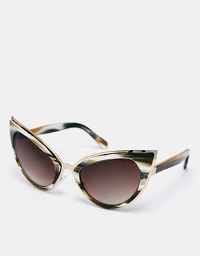 ASOS Handmade Acetate Cat Eye Sunglasses With Metal Bridge Detail