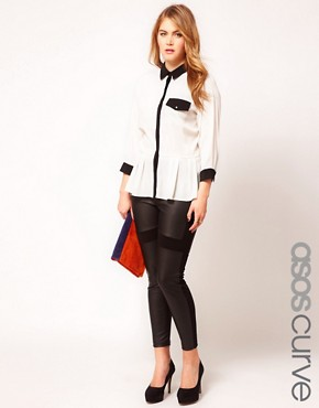 Image 1 ofASOS CURVE Exclusive PU And Jersey Legging
