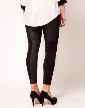 Image 2 ofASOS CURVE Exclusive PU And Jersey Legging