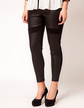 Image 4 ofASOS CURVE Exclusive PU And Jersey Legging