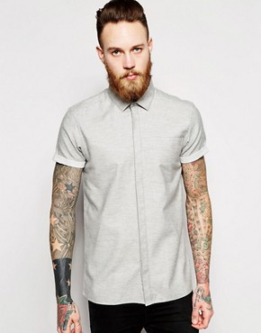 ASOS Shirt In Short Sleeve With Brushed Melange