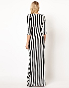 Image 2 ofLove Stripe Maxi Dress With Cut Out And Thigh Split
