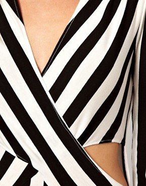 Image 3 ofLove Stripe Maxi Dress With Cut Out And Thigh Split