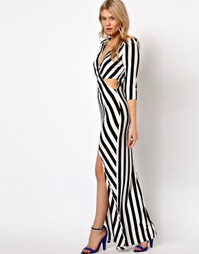 Image 4 ofLove Stripe Maxi Dress With Cut Out And Thigh Split