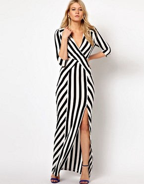 Image 1 ofLove Stripe Maxi Dress With Cut Out And Thigh Split