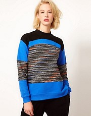 ASOS Sweatshirt with Multi Colour Panel