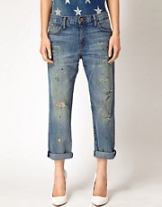 Current/Elliot Paint Boyfriend Jeans