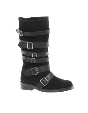 Image 1 ofASOS CABIN Leather Buckle Boots