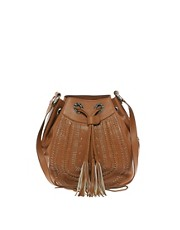 Ri2K Leather Bucket Tassle Bag