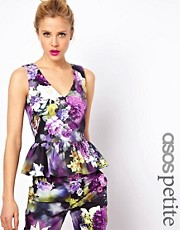 ASOS PETITE Exclusive Peplum Top In Floral Print