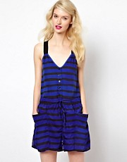 Sonia by Sonia Rykiel Jersey and Silk Mixed Playsuit