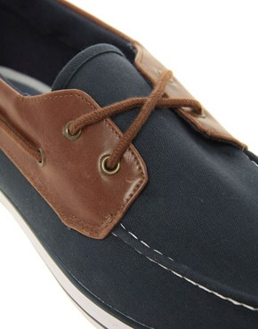 Image 2 ofASOS Boat Shoes in Herringbone Canvas