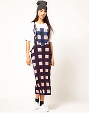 Danielle Scutt Silk Jersey Vest Dress in Check Print