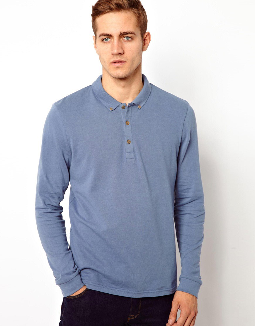 Image 1 of ASOS Polo Shirt With Long Sleeves
