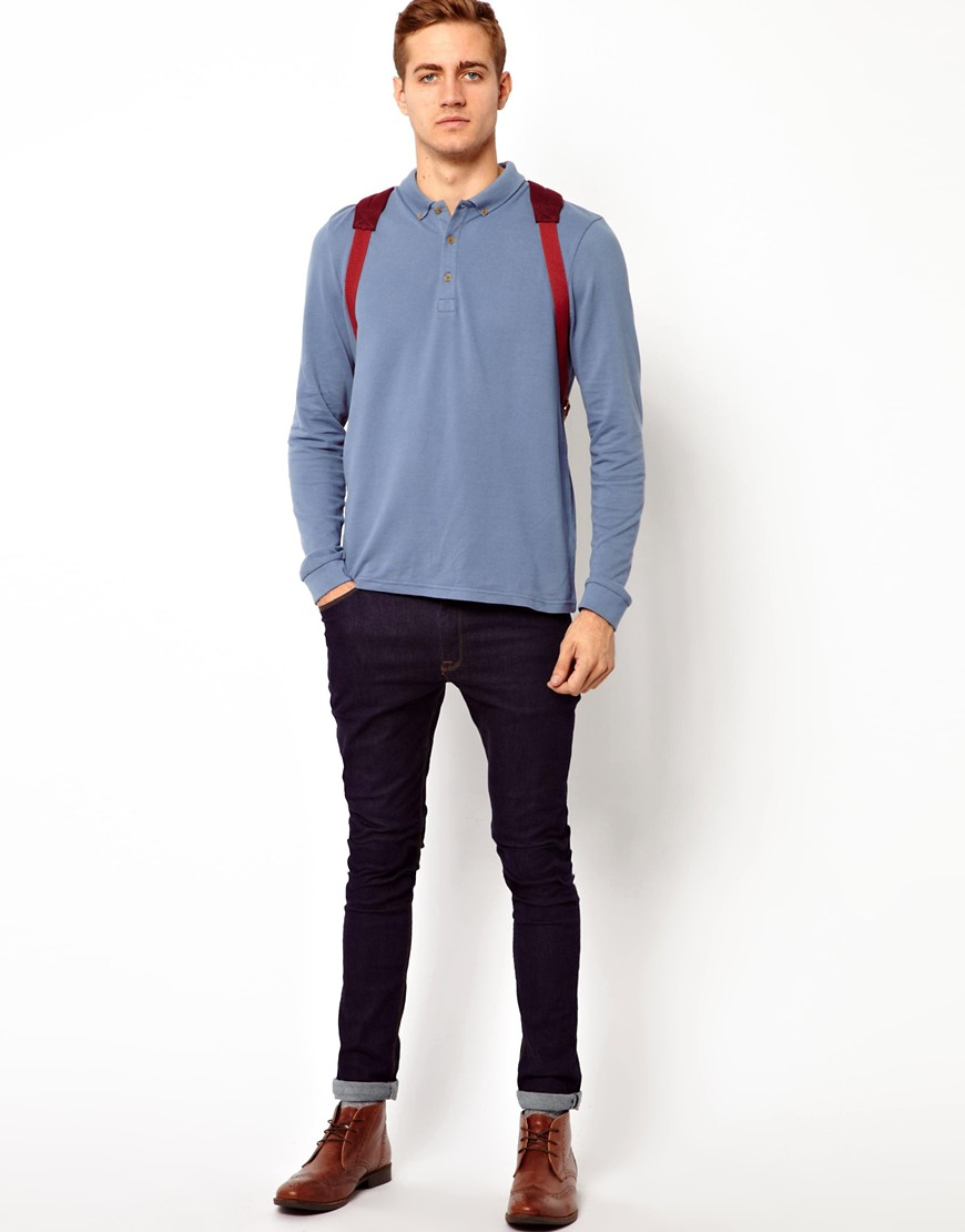 Image 4 of ASOS Polo Shirt With Long Sleeves