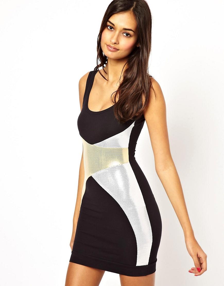 Quontum Bodycon Dress with Foil Wrap Panels - Black