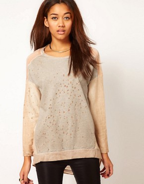 Religion Confrontation Sweatshirt With Chiffon Back at ASOS from us.asos.com