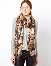 Warehouse Multi Animal Face Print Scarf