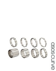 Juego de 8 anillos lisos de ASOS CURVE