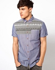 River Island Chambray Shirt with Tribal Yoke